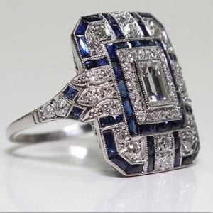 Luxury Blue Cubic Zirconia Cocktail Ring Size 6